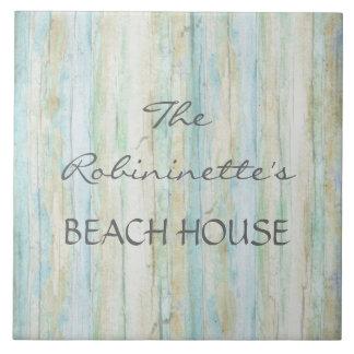 Casa de playa del océano del Driftwood Coastal Sea Azulejo Cuadrado Grande