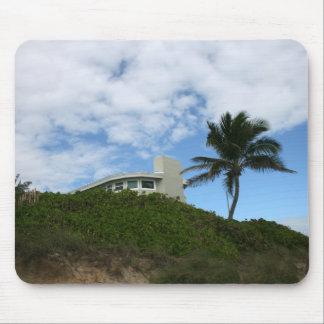 Casa de playa en la colina con el cielo y la palme tapete de ratón