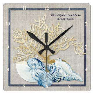 Casa de playa náutica de los Seashells del Reloj Cuadrado