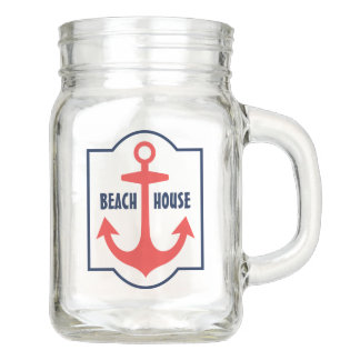 Casa de playa personalizada del tarro de albañil