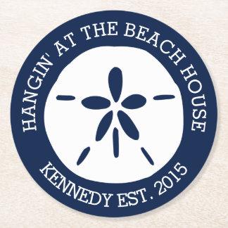 Casa de playa posavasos de cartón redondo