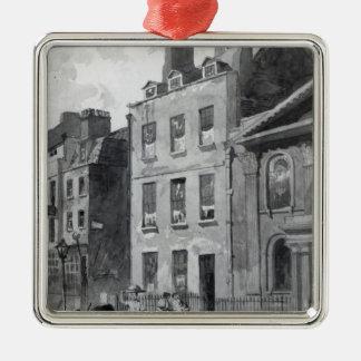 Casa de sir Isaac Newton Adorno Navideño Cuadrado De Metal