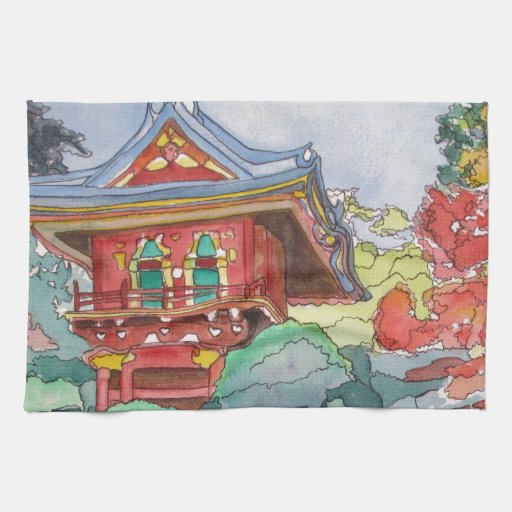 Casa de té en la pintura de la acuarela de San Fra Toalla De Cocina