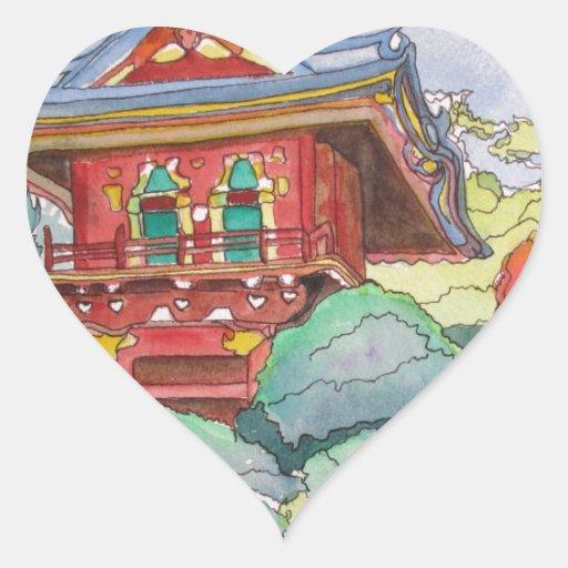 Casa de té en la pintura de la acuarela de San Pegatina En Forma De Corazón