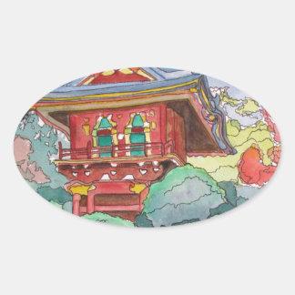 Casa de té en la pintura de la acuarela de San Pegatina Ovalada