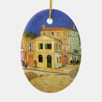 Casa de Van Gogh Vincent en Arles, bella arte Adorno Navideño Ovalado De Cerámica