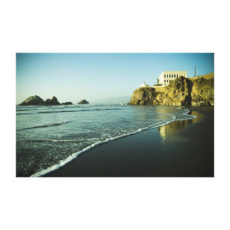 Casa del acantilado, playa impresión en tela