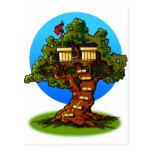 Casa del árbol del dibujo animado postales