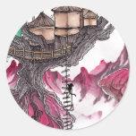 Casa del árbol etiqueta redonda