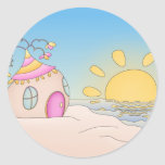 Casa del fiesta de la playa etiquetas redondas