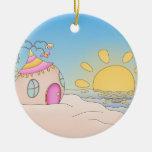 Casa del fiesta de la playa ornamentos de navidad