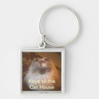 Casa del gato llavero cuadrado plateado