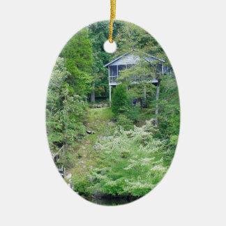 Casa del lago alabama adorno navideño ovalado de cerámica