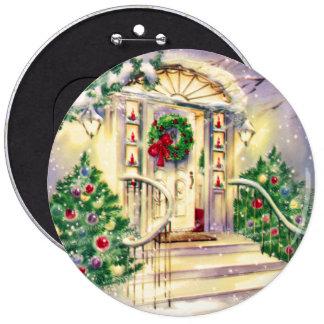 Casa del navidad del vintage pin redondo de 6 pulgadas