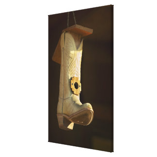 Casa del pájaro de la bota de vaquero lona estirada galerías