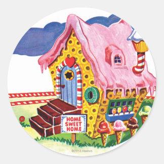 Casa del pan del jengibre de la tierra del pegatina redonda