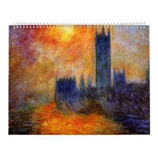 Casa del parlamento Sun - Claude Monet Calendario De Pared