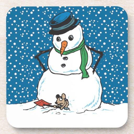 Casa del ratón del muñeco de nieve posavasos de bebida
