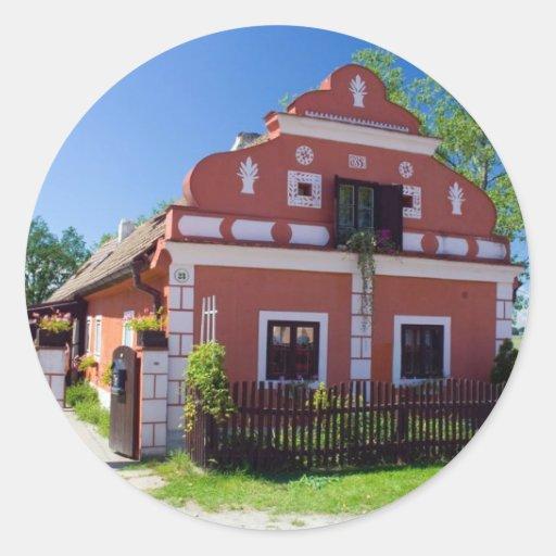 Casa del sur tradicional de Bohemia Pegatina Redonda