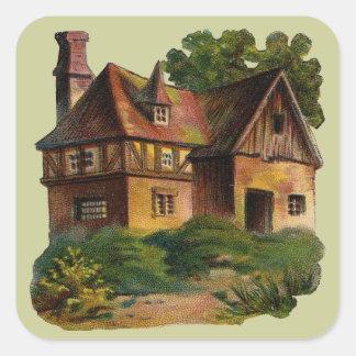Casa del Victorian Calcomania Cuadradas