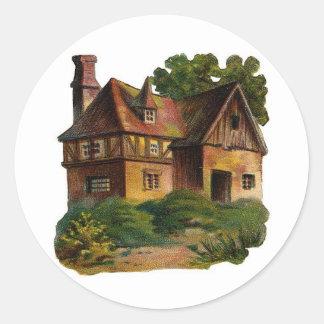 Casa del Victorian Pegatina Redonda