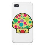 casa divertida de la seta del toadstool del kawaii iPhone 4/4S funda