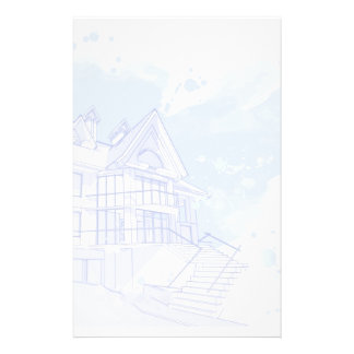 casa: drenaje de la acuarela papelería personalizada