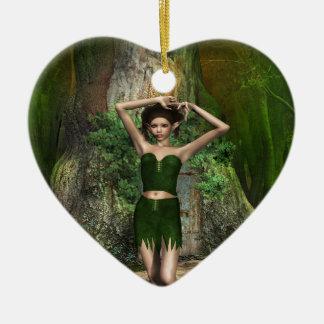 Casa en el árbol adorno navideño de cerámica en forma de corazón