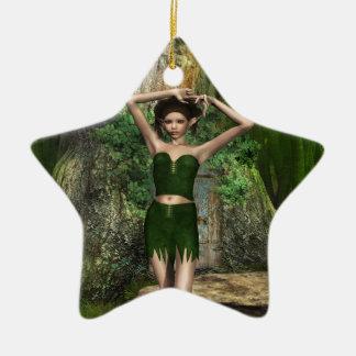 Casa en el árbol adorno navideño de cerámica en forma de estrella