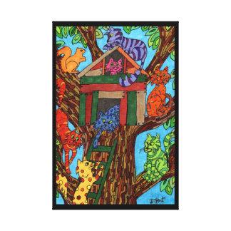 Casa en el árbol del gato impresiones en lona estiradas