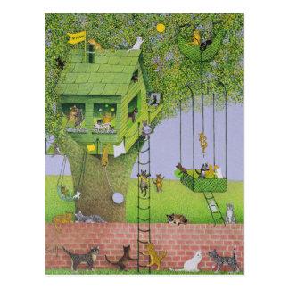Casa en el árbol del gato postales