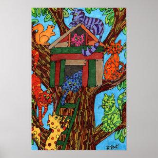 Casa en el árbol del gato póster