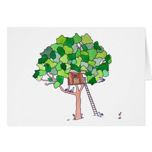 Casa en el árbol, espacio en blanco tarjeta de felicitación
