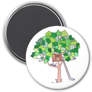 Casa en el árbol imanes de nevera