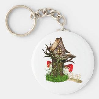 Casa en el árbol mágica llavero redondo tipo pin
