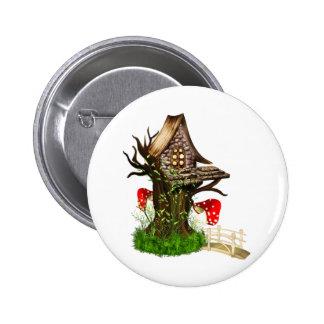 Casa en el árbol mágica pin redondo 5 cm