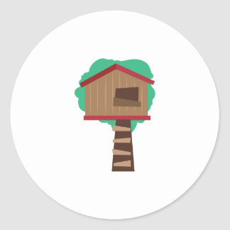 Casa en el árbol pegatina redonda