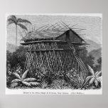 Casa en el pueblo de Arfak de Memiwa, Nueva Guinea Impresiones