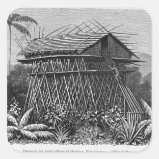 Casa en el pueblo de Arfak de Memiwa, Nueva Guinea Pegatina Cuadrada
