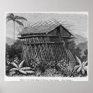 Casa en el pueblo de Arfak de Memiwa, Nueva Guinea Póster