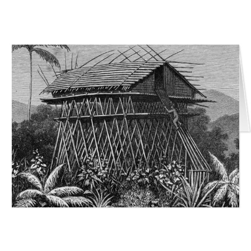 Casa en el pueblo de Arfak de Memiwa, Nueva Guinea Felicitación