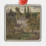 Casa en la ermita, Pontoise, 1873 Adorno Navideño Cuadrado De Metal