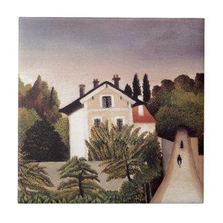Casa en las cercanías de París de Henri Rousseau Azulejo Cuadrado Pequeño