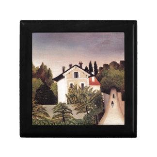 Casa en las cercanías de París de Henri Rousseau Joyero Cuadrado Pequeño