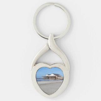 Casa en los zancos en la playa de San Pedro Ording Llavero Plateado En Forma De Corazón
