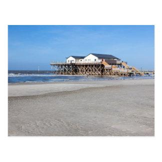 Casa en los zancos en la playa de San Pedro Ording Tarjeta Postal