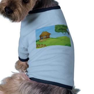 Casa en una colina camiseta con mangas para perro
