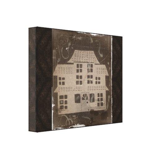 Casa encantada antigua lienzo envuelto para galerias