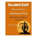 Casa encantada de Halloween con la luna Tarjetas Publicitarias