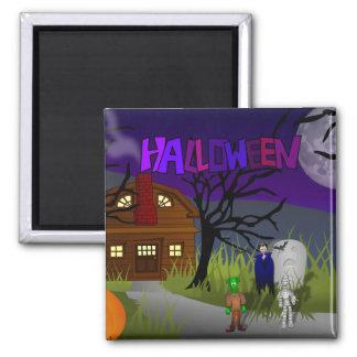 Casa encantada de Halloween Imán Cuadrado